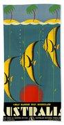 Australia Vintage Travel Poster Beach Towel