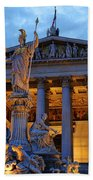 Austrian Parliament Building Beach Towel by Mariola Bitner