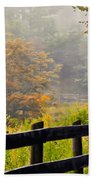 Autumn Along The Fence Beach Towel