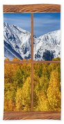 Autumn Aspen Tree Forest Barn Wood Picture Window Frame View Beach Towel by James BO  Insogna