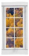 Autumn Aspen Trees White Picture Window View Beach Towel