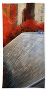Autumn At Chicago Millennium Park Bp Bridge Mixed Media 03 Beach Towel