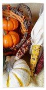 Autumn Basketful With Corn Beach Towel