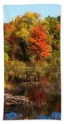 Autumn Beaver Pond Reflections Beach Towel