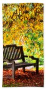 Autumn Bench In The Garden  Beach Towel