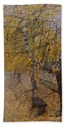 Autumn Bench Beach Towel