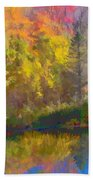 Autumn Beside The Pond Beach Towel