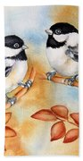 Autumn Chickadees Beach Towel