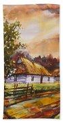 Autumn Cottages Beach Towel