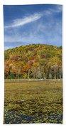 Serene Pond Vermont Autumn Panorama Beach Towel