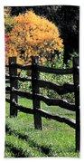 Autumn Fence And Shadows Beach Towel