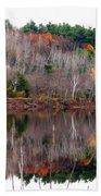 Autumn Foliage River Reflection Beach Towel