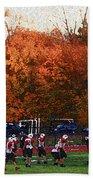 Autumn Football With Sponge Painting Effect Beach Towel