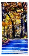 Autumn Forest Road V6 Beach Towel