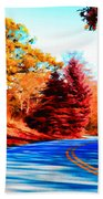 Autumn Forest Road V7 Beach Towel