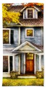 Autumn - House - Cottage  Beach Towel by Mike Savad