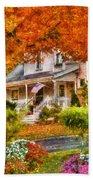 Autumn - House - The Beauty Of Autumn Beach Towel