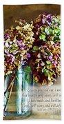 Autumn Hydrangeas Photoart With Verse Beach Towel
