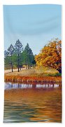 Autumn Lake In The Woods Beach Towel