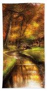 Autumn - Landscape - By A Little Bridge  Beach Towel by Mike Savad