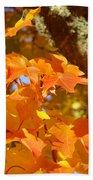 Autumn Leaves Art Print Yellow Orange Beach Towel