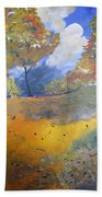 Autumn Leaves Panel1 Of 2 Panels Beach Towel