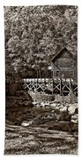 Autumn Mill Sepia Beach Towel