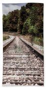 Autumn On The Railroad Tracks Beach Towel