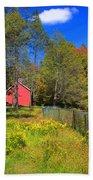 Autumn Red Barn Beach Towel by Joann Vitali