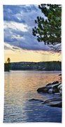 Autumn Sunset At Lake Beach Towel