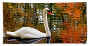 Autumn Swan Beach Towel