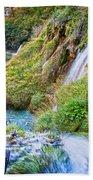 Autumn Valley Waterfalls Beach Towel