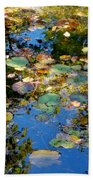 Autumn Water Lily Reflections  Beach Towel