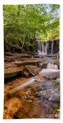 Autumn Waterfall Beach Towel by Adrian Evans