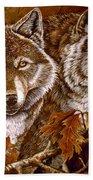 Autumn Wolves Beach Towel