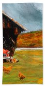 Autumnal Restful View-farm Scene Paintings Beach Towel