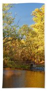 Autumn's Golden Pond Beach Towel