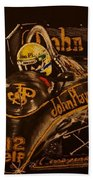 Ayrton Senna And Lotus 98t Beach Towel