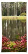 Azaleas And Reflection Pond Beach Towel