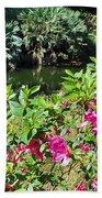 Azaleas By The Pond Beach Towel