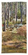 Azaleas By The Pond's Edge Beach Towel