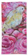 Baby Dove Of Peace Pink Flowers Beach Sheet