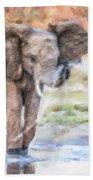 Baby Elephant Spraying Water Beach Towel