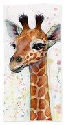 Baby Giraffe Watercolor  Beach Sheet