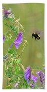 Baby Hummingbird Moth In Flight Beach Towel