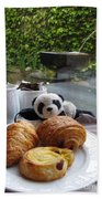 Baby Panda And Croissant Rolls Beach Towel