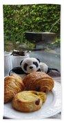 Baby Panda And Croissant Rolls Beach Sheet