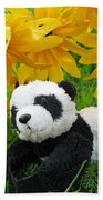 Baby Panda Under The Golden Sky Beach Towel