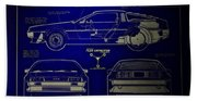 Back To The Future Delorean Blueprint 2 Beach Towel