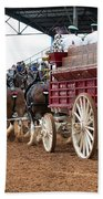 Back View Anheuser Busch Clydesdales Pulling A Beer Wagon Usa Beach Towel